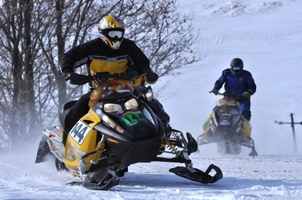 Snowmobile on snow